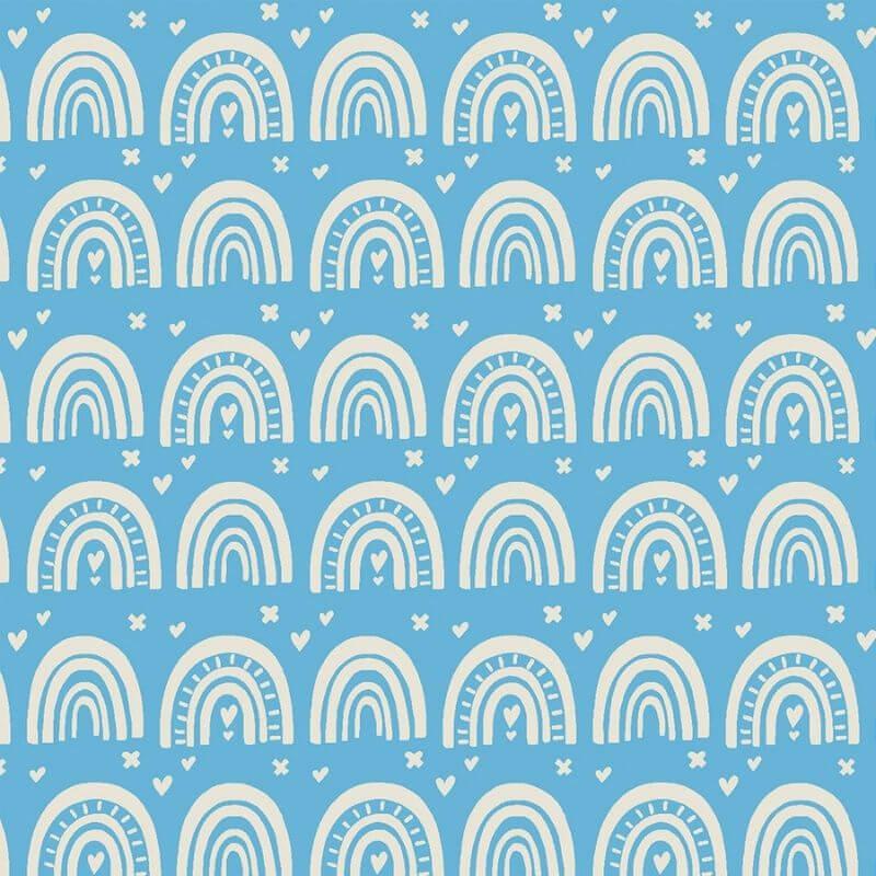 Tecido Tricoline Blue Rainbow - Fundo Azul - Coleção Over The Rainbow - Preço de 50 cm X 1,50 cm