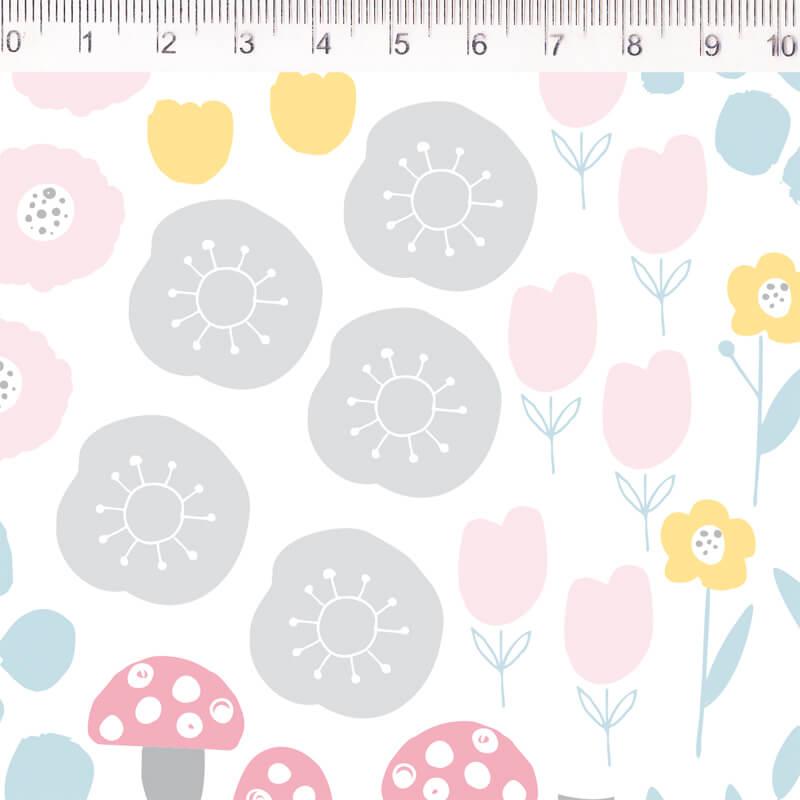 Tecido Tricoline Cogumelos e Flores - Fundo Branco - Coleção Pequeno Quintal - 50 cm x 1,50 cm
