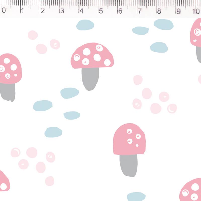 Tecido Tricoline Cogumelos - Fundo Branco - Coleção Pequeno Quintal - 50 cm x 1,50 cm