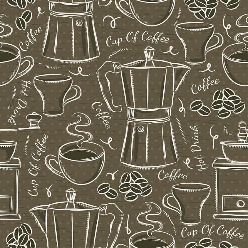 Tecido Tricoline Cup of Coffee - Fundo Bege - Modern Kitchen - Preço de 50 cm X 1,50 cm