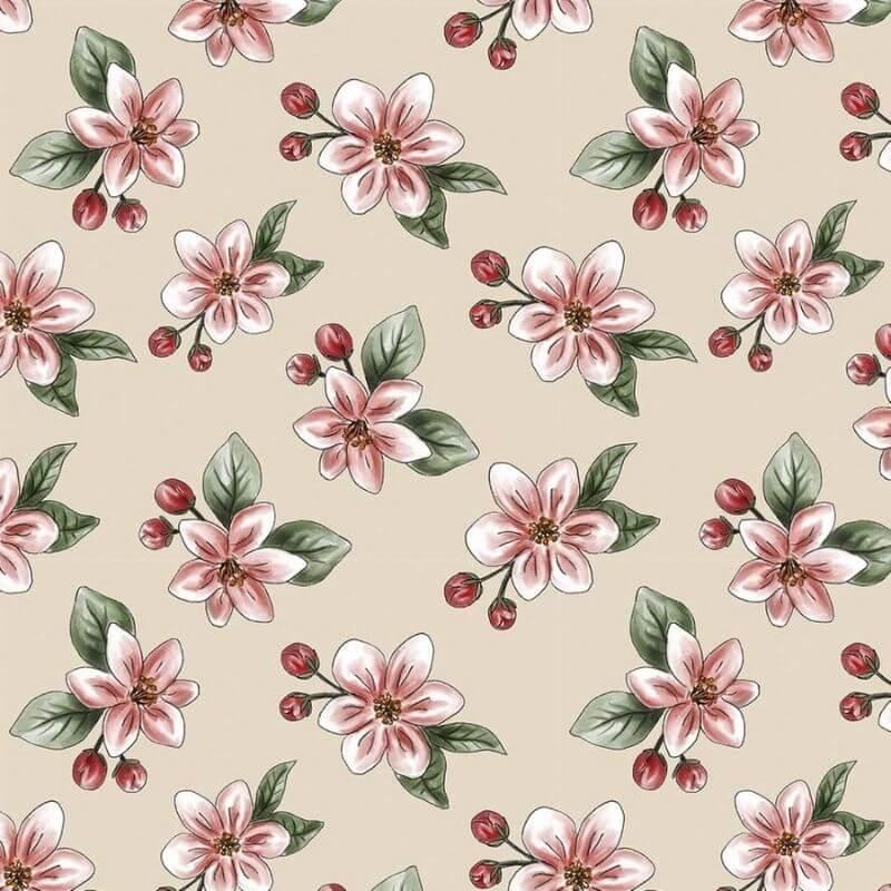 Tecido Tricoline Digital Apple Blossom - Fundo Nude - Coleção Anita Catita - Red Blossom - Preço de 50 cm X 1,50 cm