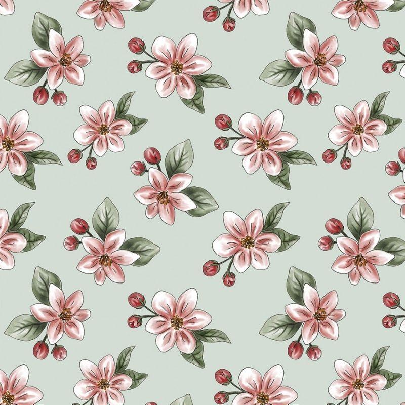 Tecido Tricoline Digital Apple Blossom - Fundo Verde Claro - Coleção Anita Catita - Red Blossom - Preço de 50 cm X 1,50 cm