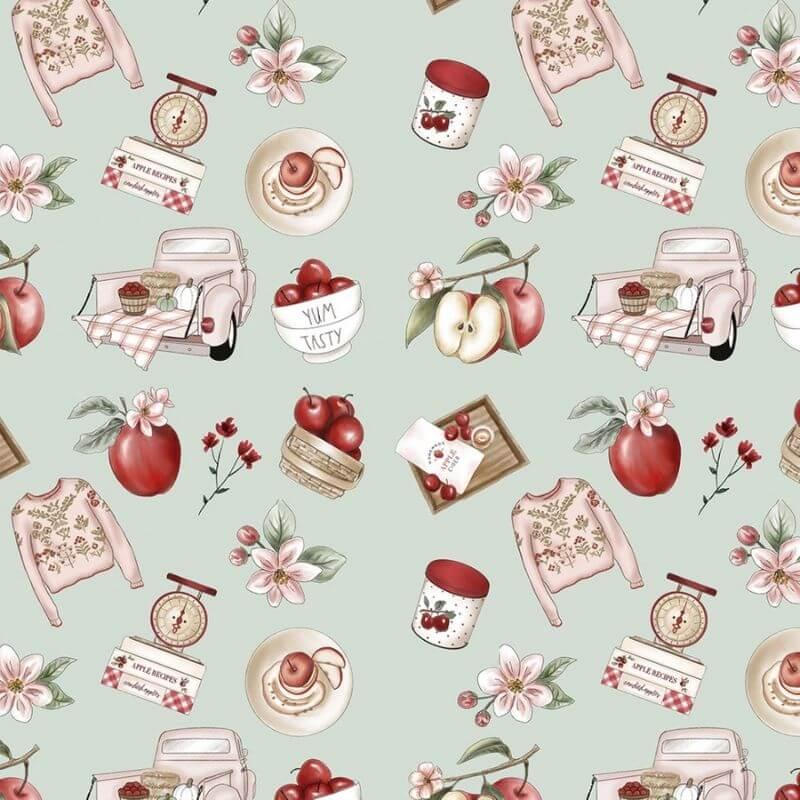 Tecido Tricoline Digital Apples Recips - Fundo Verde Claro - Coleção Anita Catita - Red Blossom - Preço de 50 cm X 1,50 cm