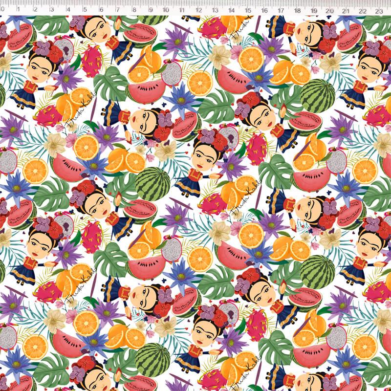 Tecido Tricoline Digital Estampa Frida Kahlo  - Fundo Branco  - 50 cm x 1,50 cm
