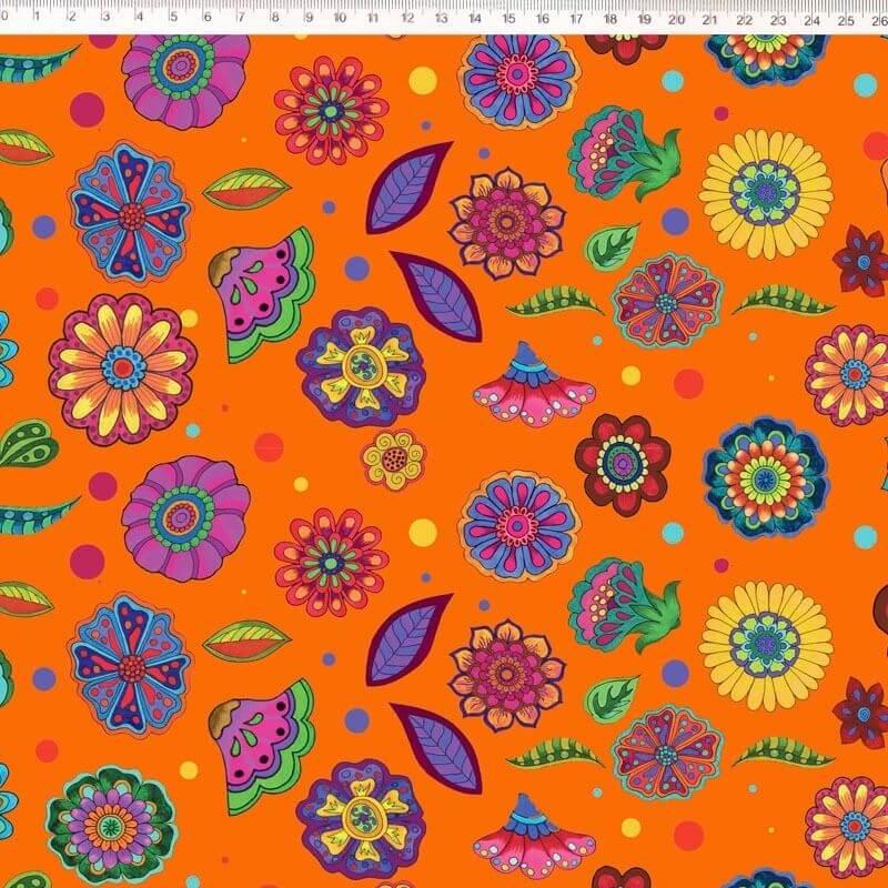 Tecido Tricoline Digital Floral Médio - Fundo Laranja - Coleção Sandias Flowers  - 50 cm x 1,50 cm