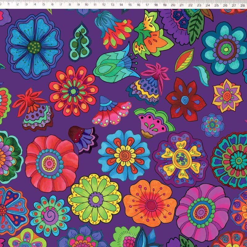 Tecido Tricoline Digital Floral Grande - Fundo Roxo- Coleção Sandias Flowers  - 50 cm x 1,50 cm