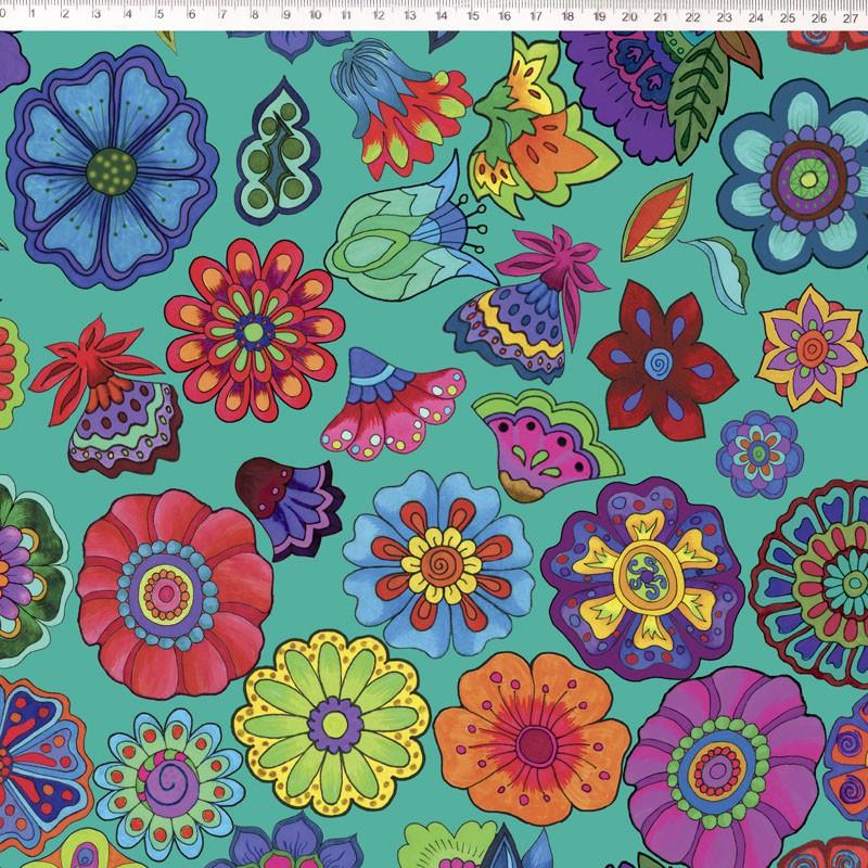 Tecido Tricoline Digital Floral Grande  - Fundo Acqua - Coleção Sandias Flowers  - 50 cm x 1,50 cm