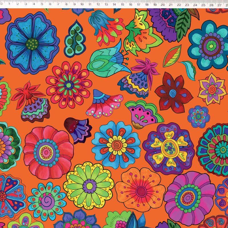 Tecido Tricoline Digital Floral Grande - Fundo Laranja - Coleção Sandias Flowers  - 50 cm x 1,50 cm