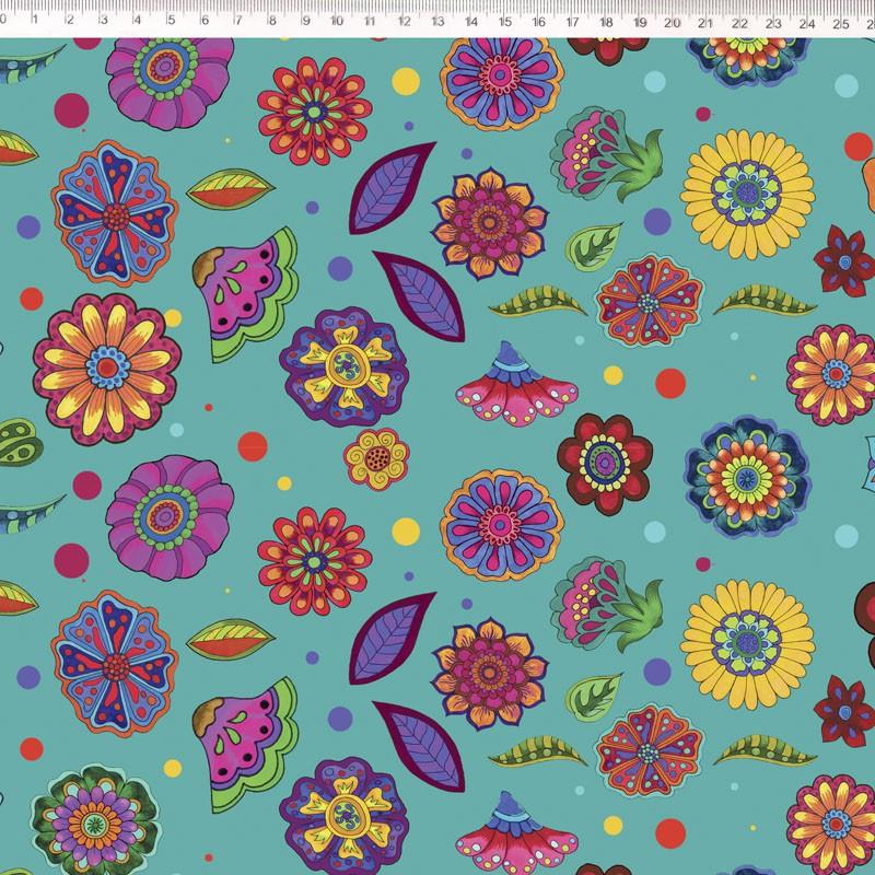 Tecido Tricoline Digital Floral Médio  - Fundo Acqua - Coleção Sandias Flowers  - 50 cm x 1,50 cm