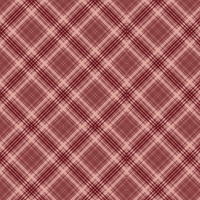 Tecido Tricoline Digital Red Plaid - Fundo Vermelho - Coleção Anita Catita - Red Blossom - Preço de 50 cm X 1,50 cm