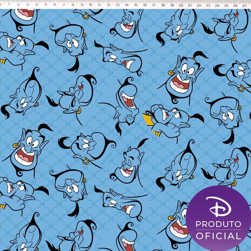 Tecido Tricoline Estampa Aladdin Genio  - Fundo Azul  - 50 cm x 1,50 cm