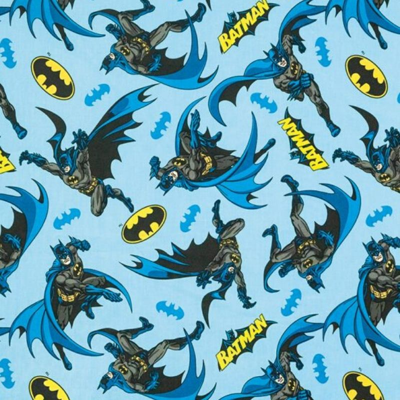 Tecido Tricoline Estampa Batman - Fundo Azul - Preço de 50 cm x 150 cm