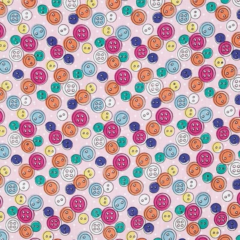 Tecido Tricoline Estampa Botões - Fundo Rosa - 50 cm x 1,50 cm