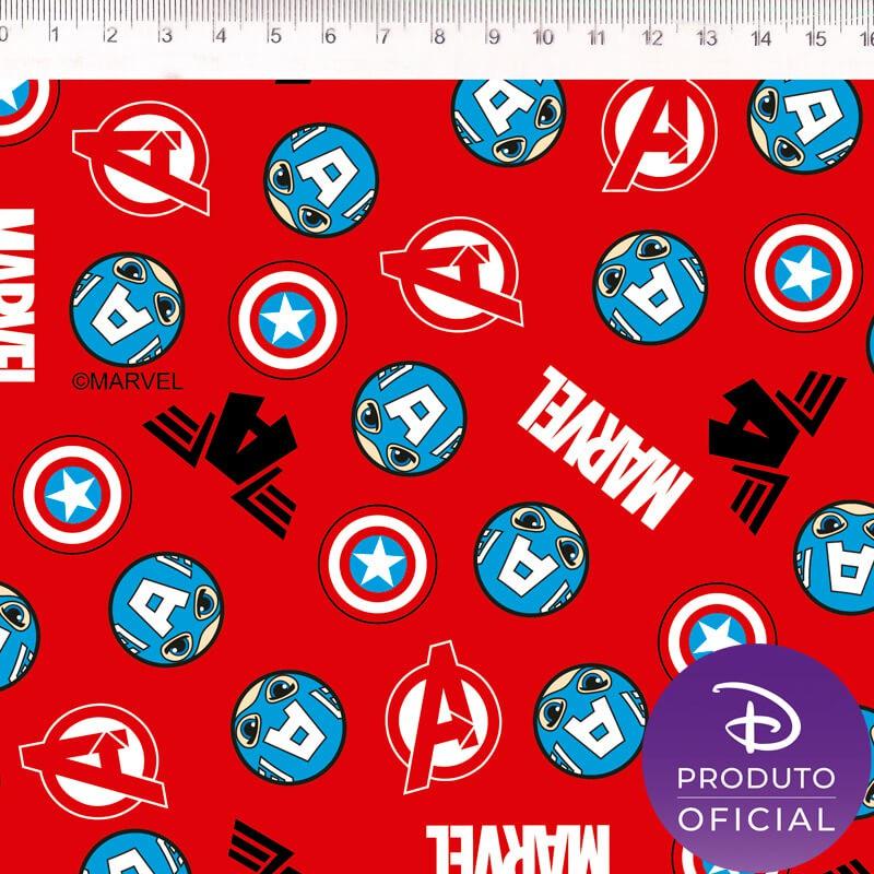 Tecido Tricoline Estampa Capitão America - Fundo Vermelho - 50 cm x 1,50 cm