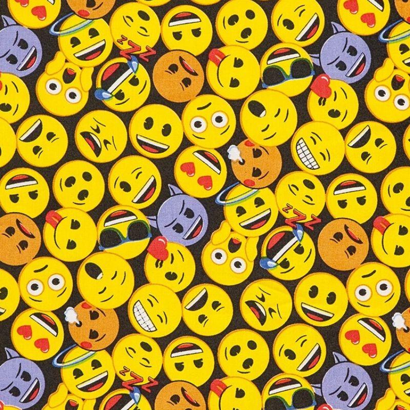 Tecido Tricoline Estampa Emojis - Fundo Preto - 50 cm x 1,50 cm