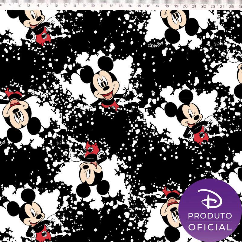 Tecido Tricoline Estampa Mickey Mouse  - Fundo Branco e Preto - 50 cm x 1,50 cm