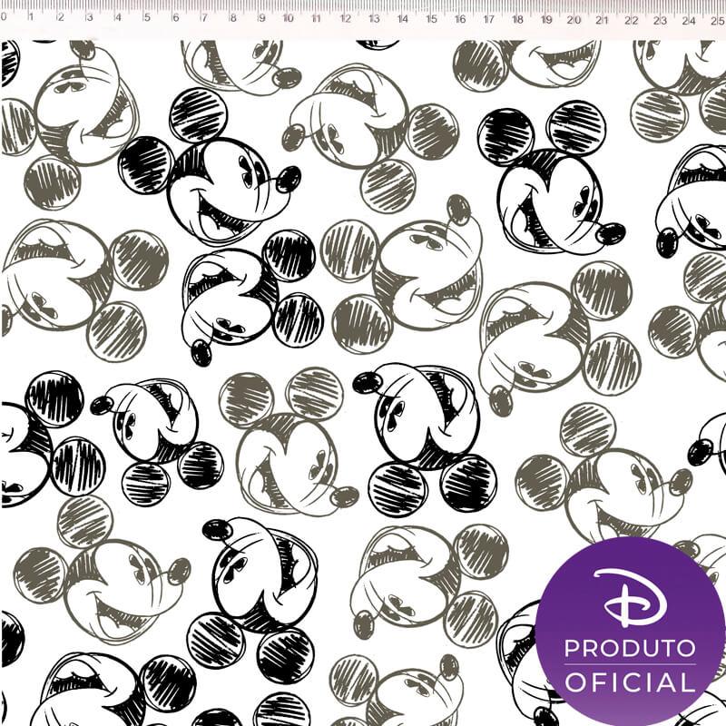 Tecido Tricoline Estampa Mickey Mouse Rostos - Fundo Branco - 50 cm x 1,50 cm