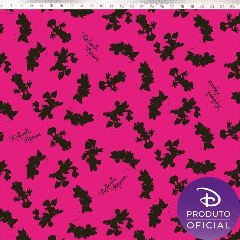 Tecido Tricoline Estampa Minnie Mouse   - Fundo Rosa - 50cm x 150 cm