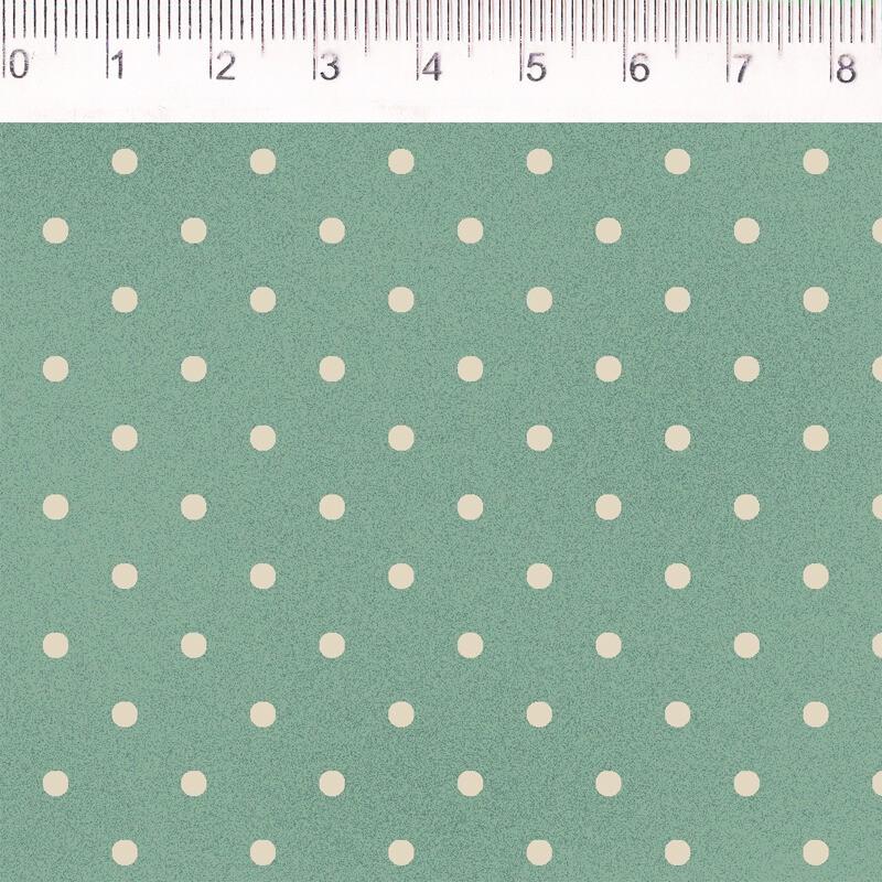 Tecido Tricoline Estampa Poa  - Fundo Verde - Coleção Millyta - La Vie En Rose - Preço de 50 cm X 1,50 cm
