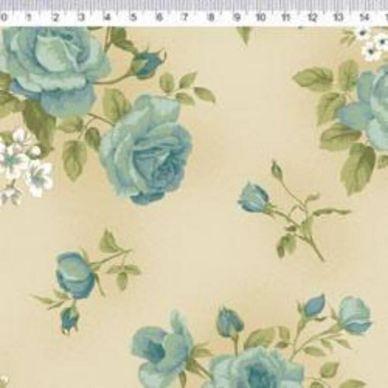 Tecido Tricoline Estampa Rosas - Fundo Bege - Coleção Millyta - Four Seasons - Preço de 50 cm X 1,50 cm