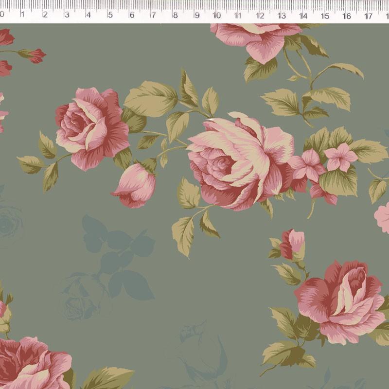 Tecido Tricoline Estampa Rosas - Fundo Verde- Coleção Millyta - La Vie En Rose - Preço de 50 cm X 1,50 cm