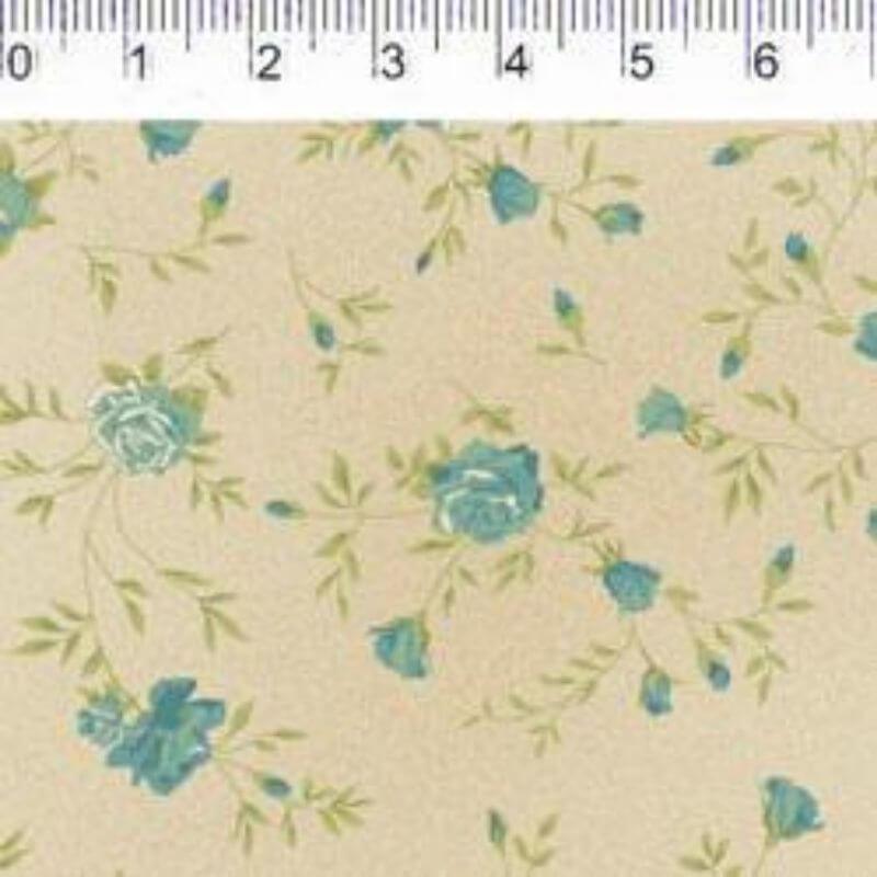 Tecido Tricoline Estampa Rosas Pequenas - Fundo Bege - Coleção Millyta - Four Seasons - Preço de 50 cm X 1,50 cm