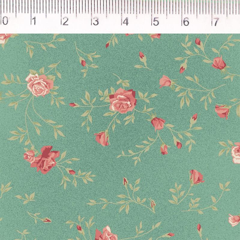 Tecido Tricoline Estampa Rosas Pequenas - Fundo Verde - Coleção Millyta - Four Seasons - Preço de 50 cm X 1,50 cm