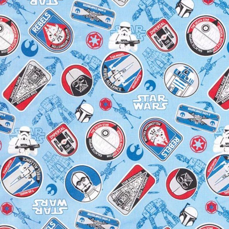 Tecido Tricoline Estampa Star Wars - Fundo Azul - 50 cm x 1,50 cm