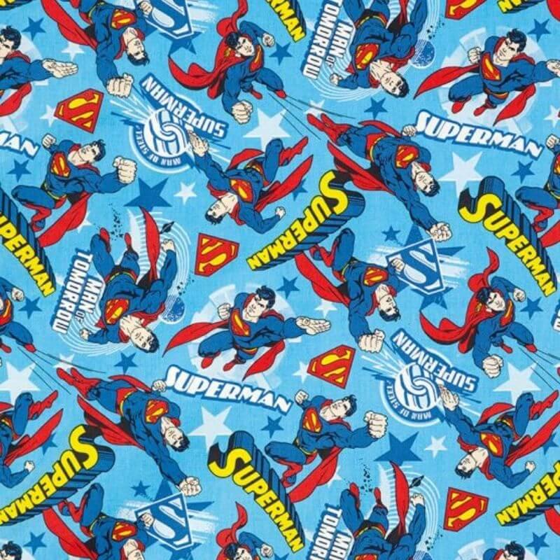 Tecido Tricoline Estampa Superman - Fundo Azul - 50 cm x 1,50 cm