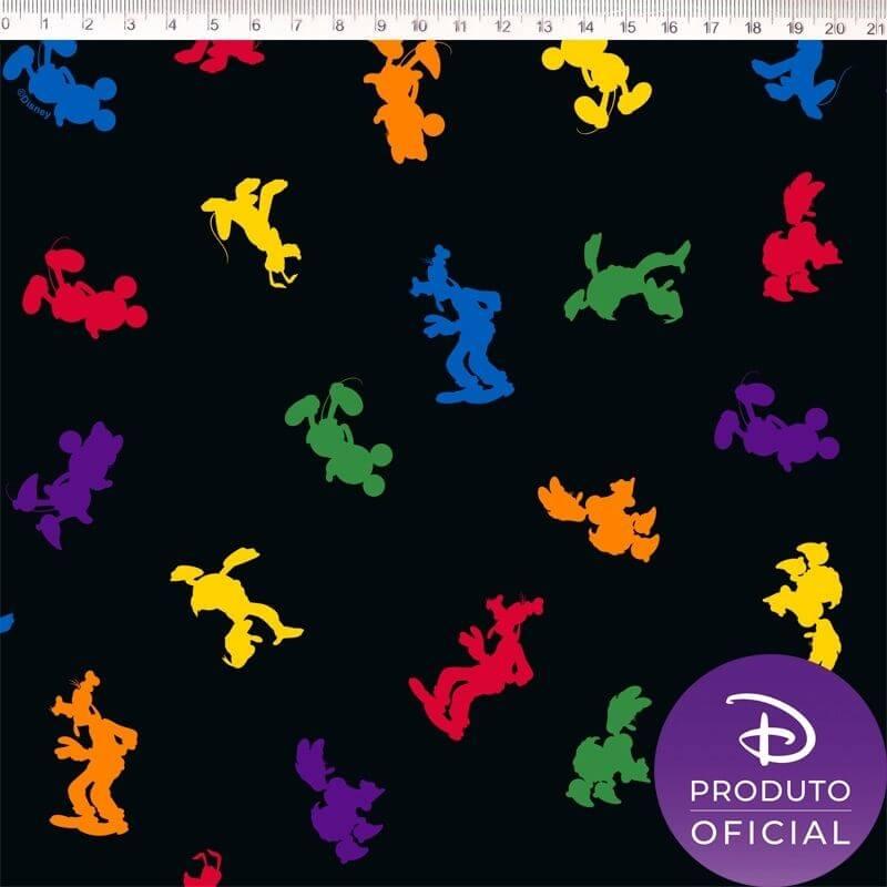Tecido Tricoline Estampa Turma Disney   - Fundo Preto - 50cm x 150 cm