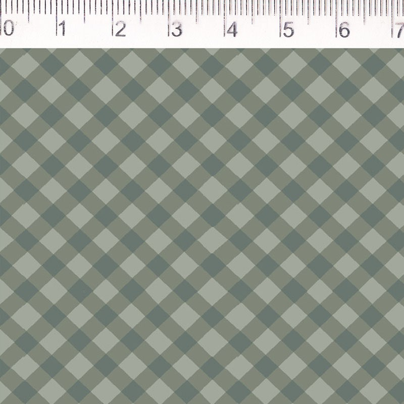 Tecido Tricoline Estampa Xadrez Verde Musgo - Fundo Bege - Coleção Millyta - La Vie En Rose - Preço de 50 cm X 1,50 cm