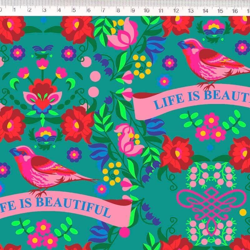 Tecido Tricoline Floral com Pássaros - Fundo Verde - Coleção Renata Blanco - 50 cm x 1,50 cm
