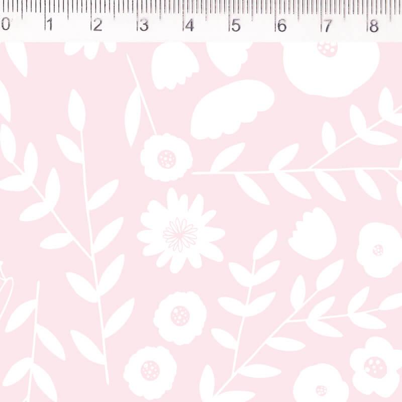Tecido Tricoline Flores - Fundo Rosa - Coleção Pequeno Quintal - 50 cm x 1,50 cm