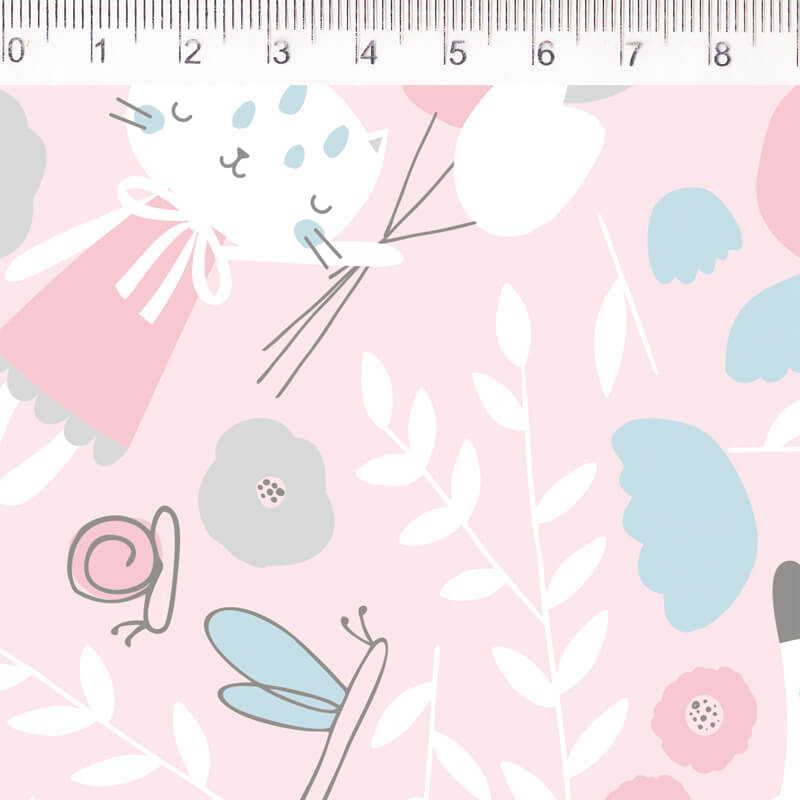 Tecido Tricoline Gato com Tulipa - Fundo Rosa - Coleção Pequeno Quintal - 50 cm x 1,50 cm