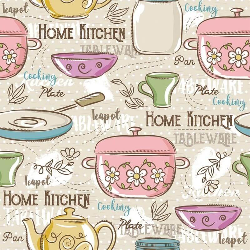 Tecido Tricoline Home Kitchen - Fundo Bege - Modern Kitchen - Preço de 50 cm X 1,50 cm