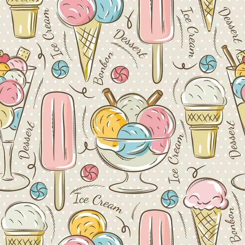 Tecido Tricoline Ice Cream - Fundo Bege - Modern Kitchen - Preço de 50 cm X 1,50 cm
