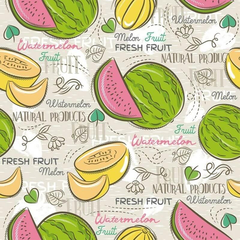 Tecido Tricoline Melon Watermelon - Fundo Bege - Modern Kitchen - Preço de 50 cm X 1,50 cm