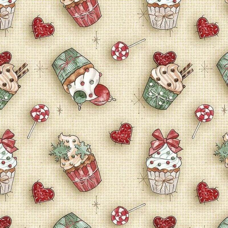 Tecido Tricoline Natal Estampa Cupcakes - Preço de 50 cm X 1,50 cm