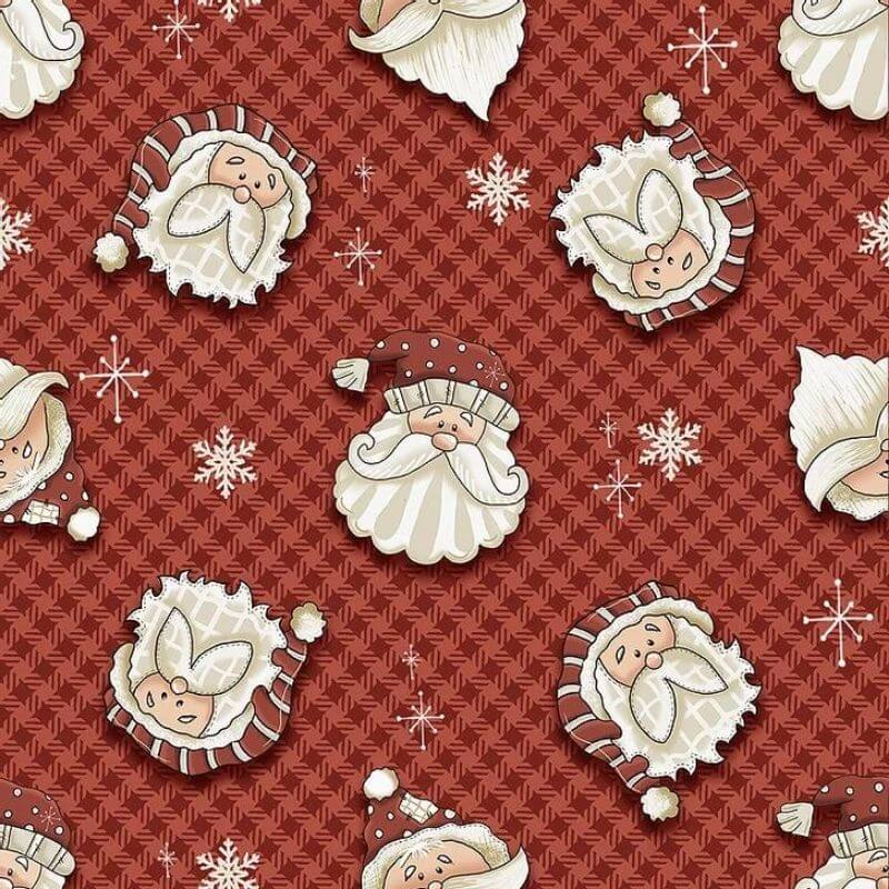 Tecido Tricoline Natal Estampa Rostos Noel - Fundo Vermelho -  Preço de 50 cm X 1,50 cm