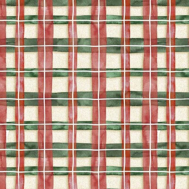 Tecido Tricoline Natal Estampa Xadrez - Preço de 50 cm X 1,50 cm