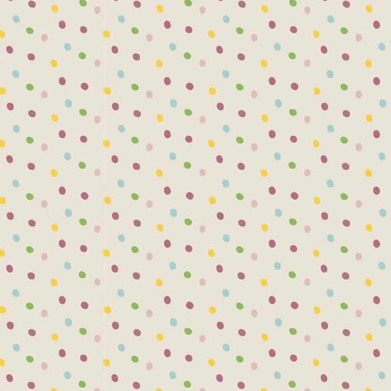 Tecido Tricoline Rose Multi Dot - Fundo Bege - Coleção Over The Rainbow - Preço de 50 cm X 1,50 cm