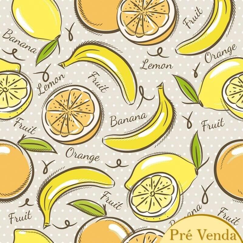 Tecido Tricoline Yellow Fruits - Fundo Bege - Coleção Over The Rainbow - Preço de 50 cm X 1,50 cm