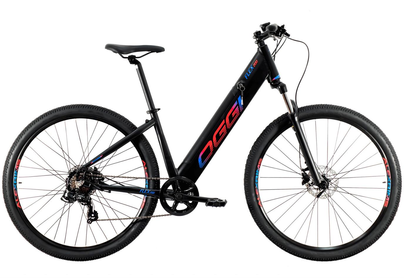 BICICLETA 29 OGGI E-BIKE FLEX 200 SHIMANO 7 V. PTO/AZUL/VM (2021)