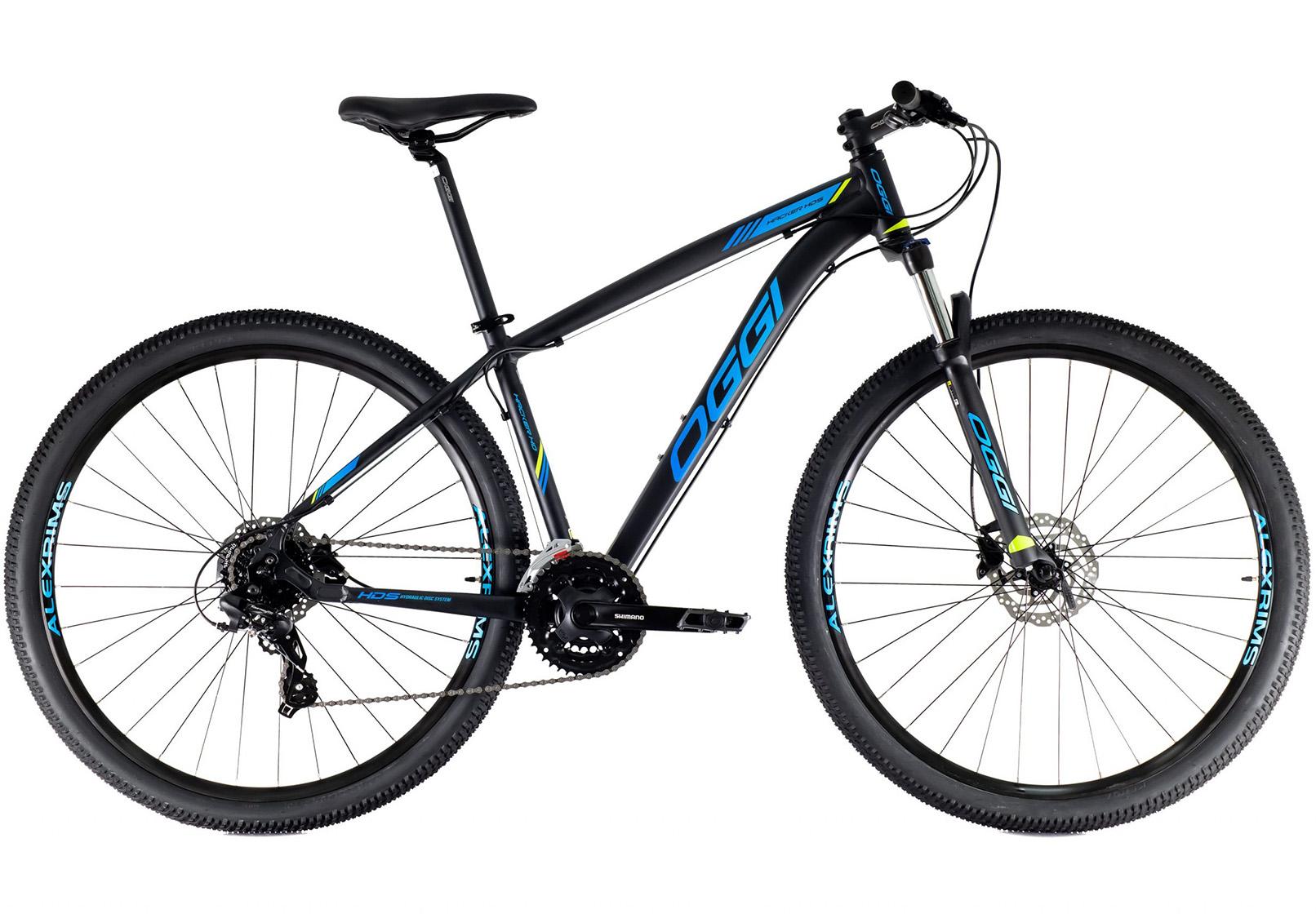 BICICLETA 29 OGGI HACKER HDS 3x8 V. HIDRÁULICO PTO/AZUL/LIME (2021)
