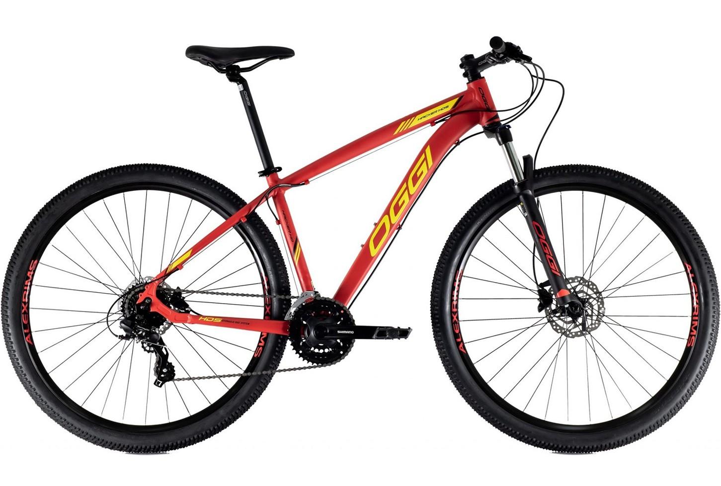BICICLETA 29 OGGI HACKER HDS 3x8 V. HIDRÁULICO VERMELHO/AMARELO (2021)