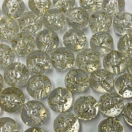 Bola Transparente 14mm com Glitter Dourado - 500g