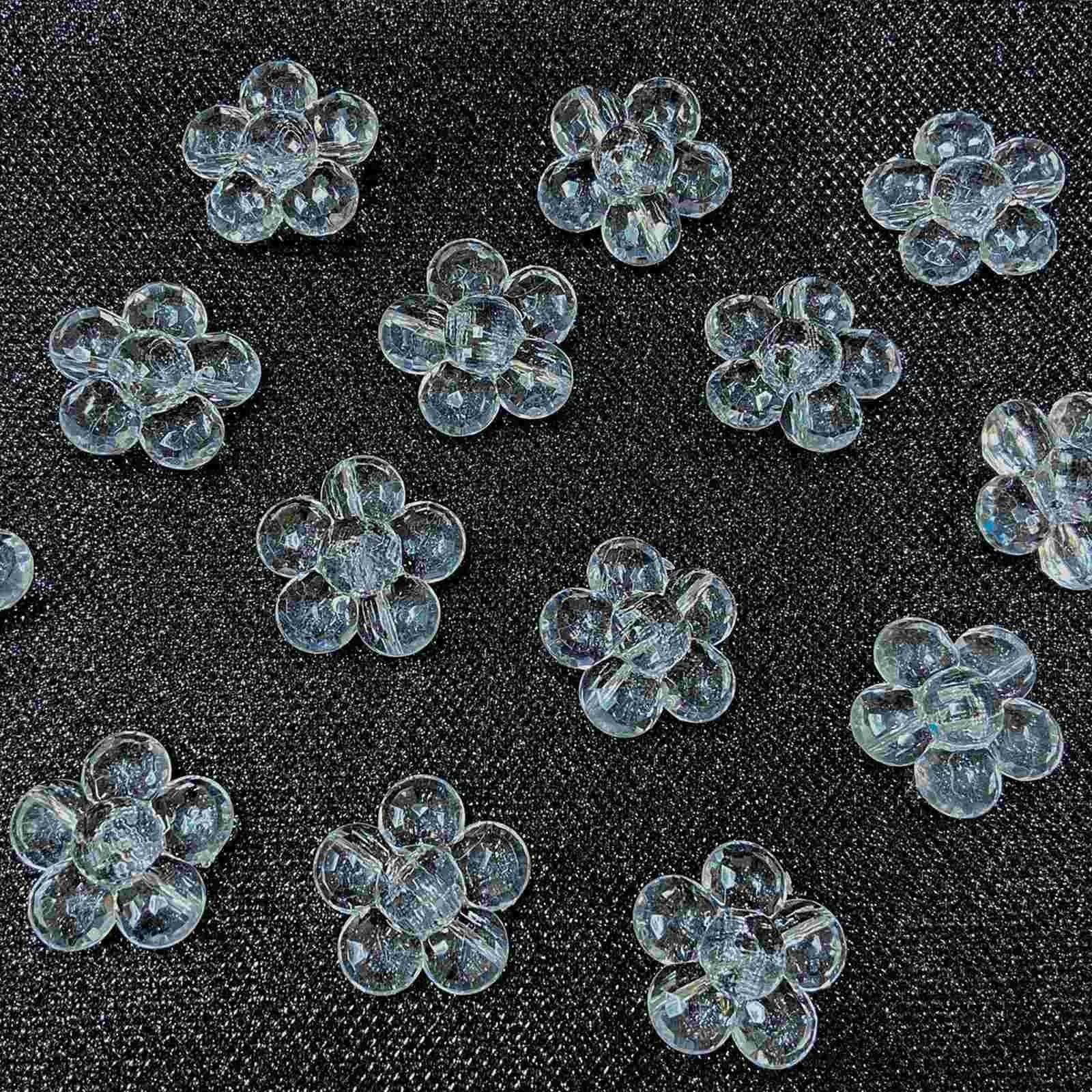 Botão Flor Acrílica Facetada 14x38mm Pacote com 500g
