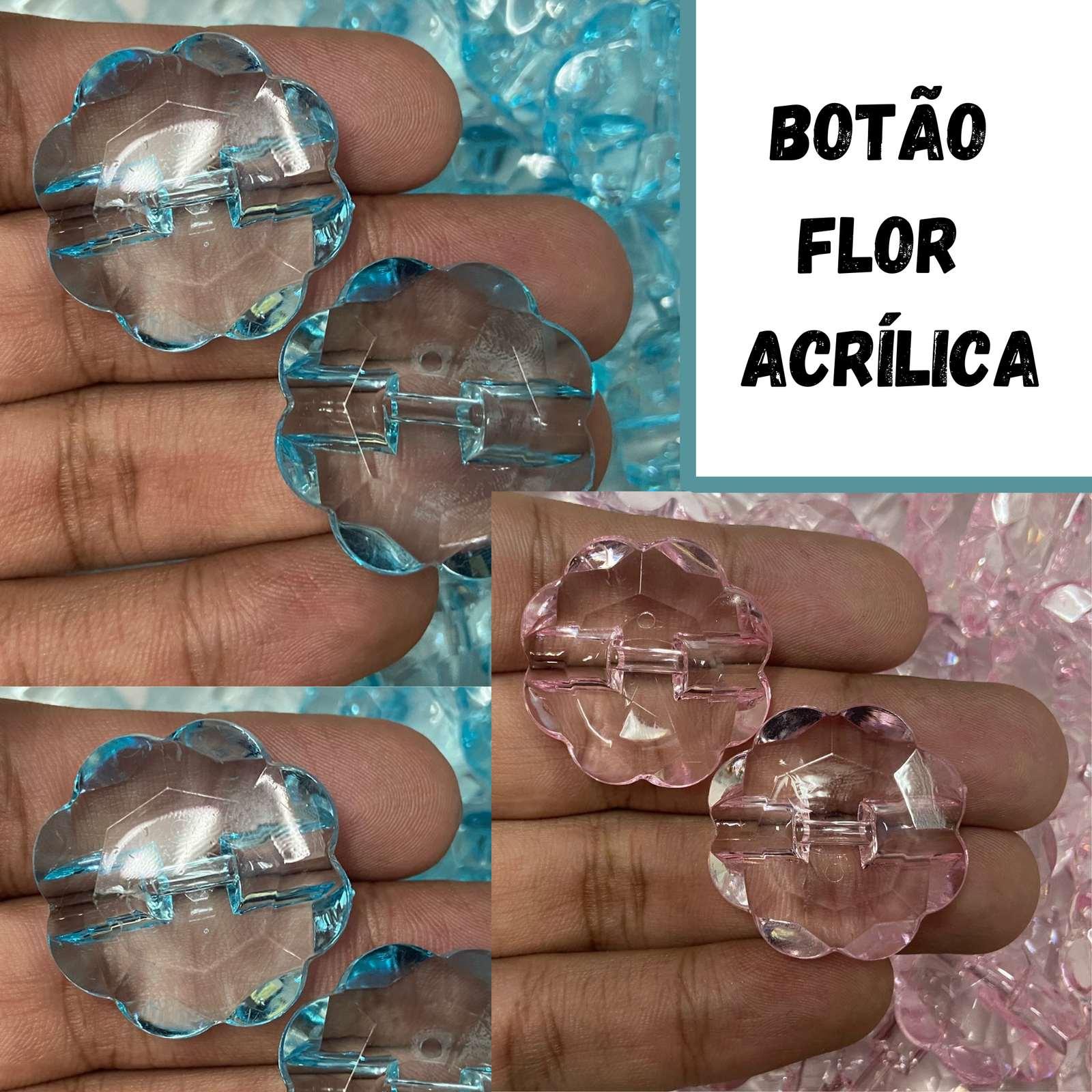 Botão Flor Acrílica Transparente 30mm - 250g