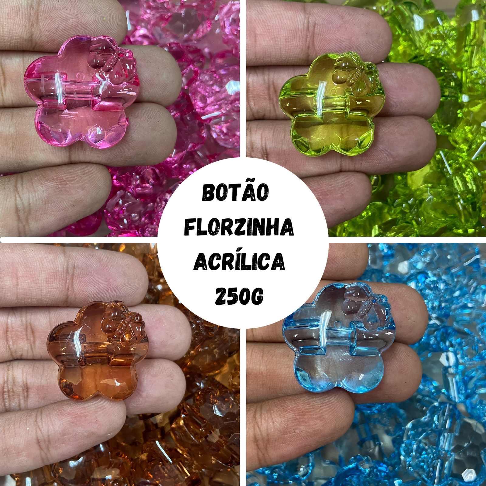 Botão Florzinha Acrílico (detalhe borboleta) - 250g