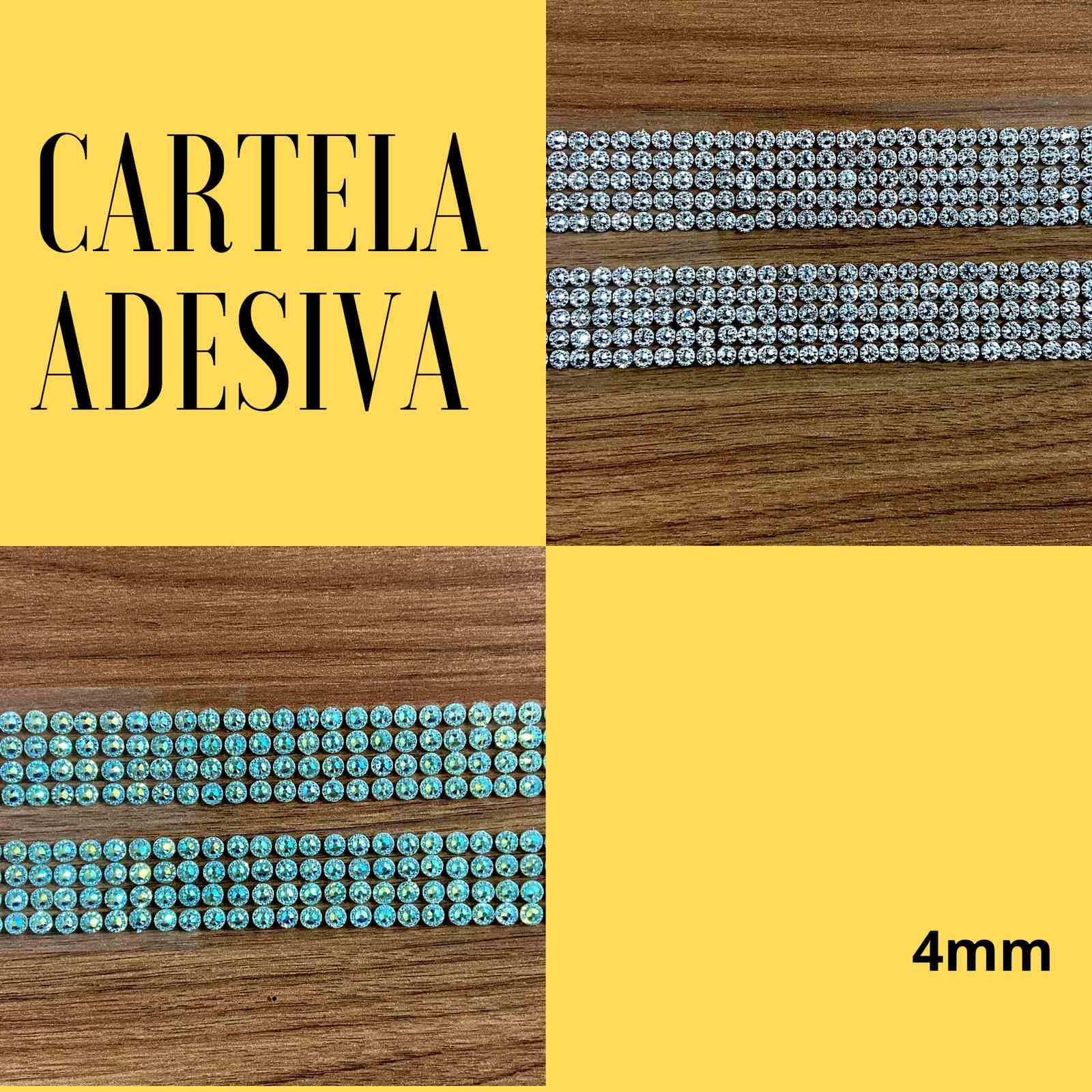 Cartela Adesiva Brilhante 4mm c/876 unidades